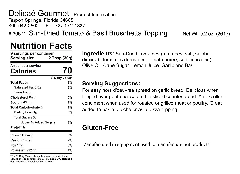 Sun-Dried Tomato and Basil Bruschetta Topping