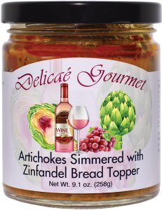 "Artichokes Simmered with Zinfandel Bread Topper ""Gluten-Free"""