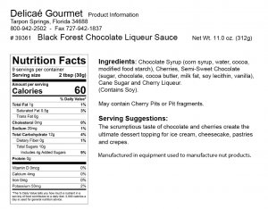 "Black Forest Chocolate Liqueur Sauce ""Gluten-Free"""