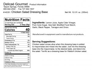 "Chicken Salad Dressing Base ""Gluten-Free"""