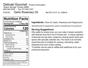 "Garlic Rosemary Oil ""Gluten-Free"""