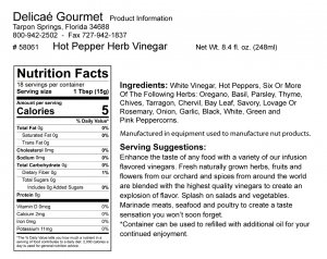 "Hot Pepper Herb Vinegar ""Gluten-Free"""