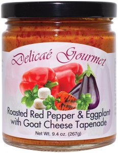 "Roasted Red Pepper and Eggplant with Goat Cheese Tapenade ""Gluten-Free"""