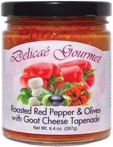 "Roasted Red Pepper and Olives with Goat Cheese Tapenade ""Gluten-Free"""