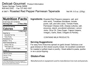 "Roasted Red Pepper Parmesan Tapenade ""Gluten-Free"""