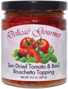 "Sun-Dried Tomato and Basil Bruschetta Topping ""Gluten-Free"""